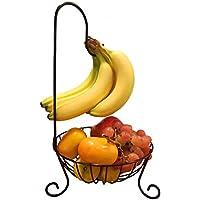 YOYURISE おしゃれ フルーツスタンド フルーツバスケット バナナツリー 果物 フルーツ お菓子入れ くだもの入れ アイアン製 ブラック