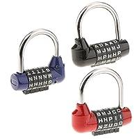 H HILABEE 3個 リセット可能 南京錠 5桁 レター ダイヤル式 パッドロック スポーツロッカー ツールボックス