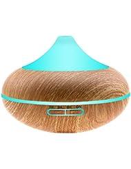 iBazal アロマディフューザー 加湿器 卓上加湿器 アロマ加湿器 USB 超音波式 空気清浄機 乾燥対策 空気浄化 ストレス解消 ミスト木目調 大容量450 7色変換LED搭載 時間設定