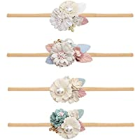 Baby Girl Floral Headbands Nylon Elastic Newborn Infant Pack of 4 Hair Accessories