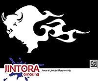 JINTORA ステッカー/カーステッカー - Bull fire - 雄牛の火 - 149x81mm - JDM/Die cut - 車/ウィンドウ/ラップトップ/ウィンドウ- 白