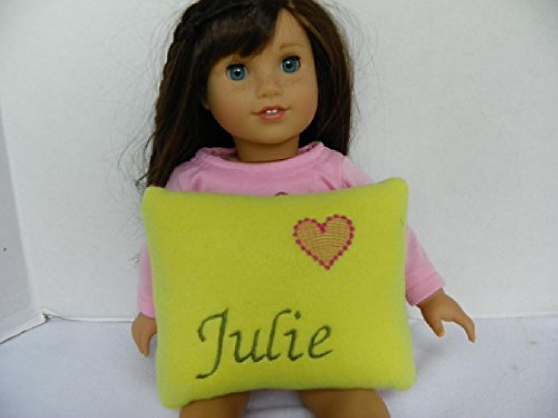 モノグラムライムグリーンフリース枕人形ベッドFits 18