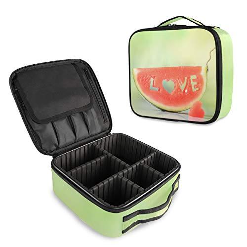 (VAWA) メイクボックス 大容量 プロ用 かわいい スイカ柄 ラブ 化粧箱 機能的 コスメ収納 ブラシバッグ 調整可能 旅行出張用