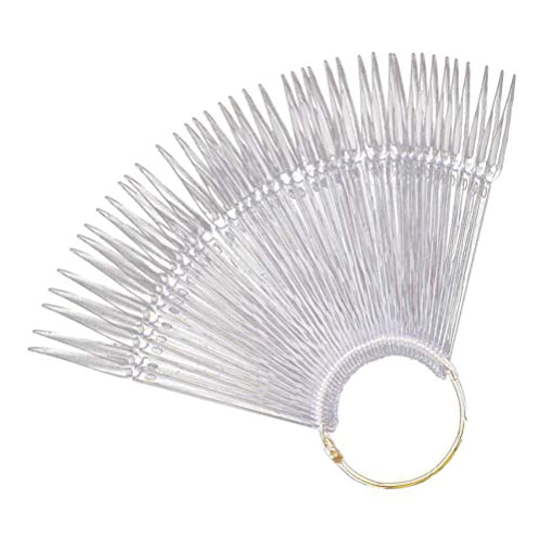 がんばり続ける素晴らしい良い多くの診断するMinkissy Nail Art Tips Sticks Nail Color Plates Fan Shaped Display Swatches Manicure Palette Card Nail Art Supplies 100pcs (Transparent)