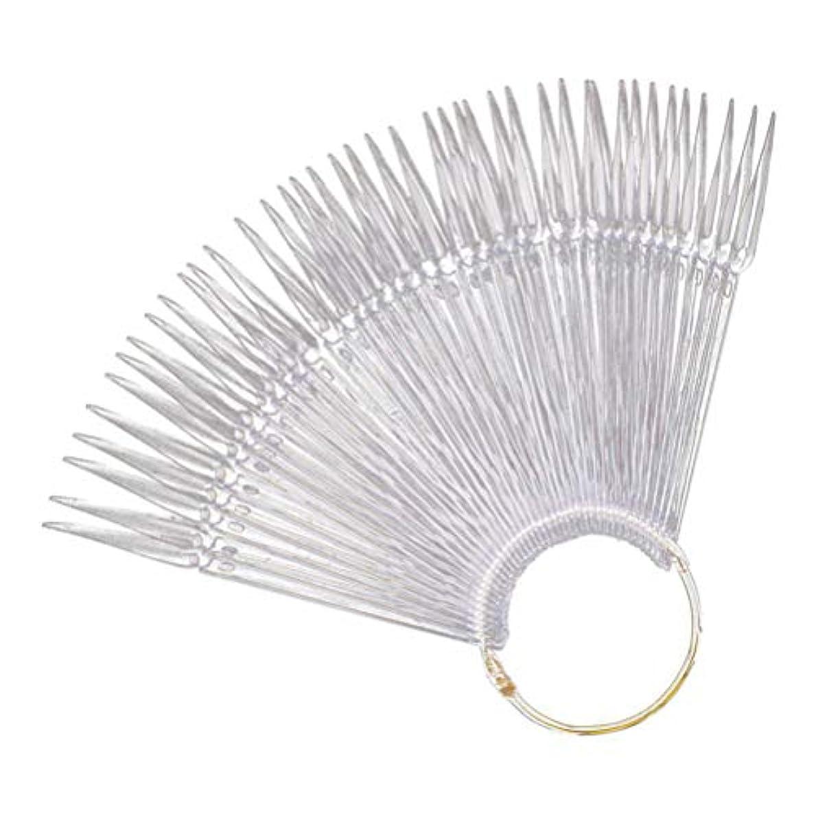 部追記蓮Minkissy Nail Art Tips Sticks Nail Color Plates Fan Shaped Display Swatches Manicure Palette Card Nail Art Supplies 100pcs (Transparent)
