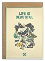 Message Earth 3264144?Double Eco-Design Card Envelope???Life is Beautiful Beige Recycled Paper 1215?x 16.3?cm [並行輸入品]