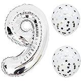 大な風船 お子様誕生日パーティー シルバー数字(9)バルーンx1個 紙吹雪風船バルーンx2個(yins09)