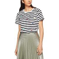 French Connection Women's Stripe Heart Tee, Summer White/Black/Multi