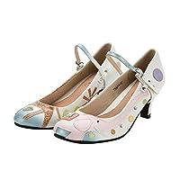 女性の本革ハイヒールの靴象とキリン柄レトロクラシックラウンドトゥメアリージェーンの靴ウェディングシューズ