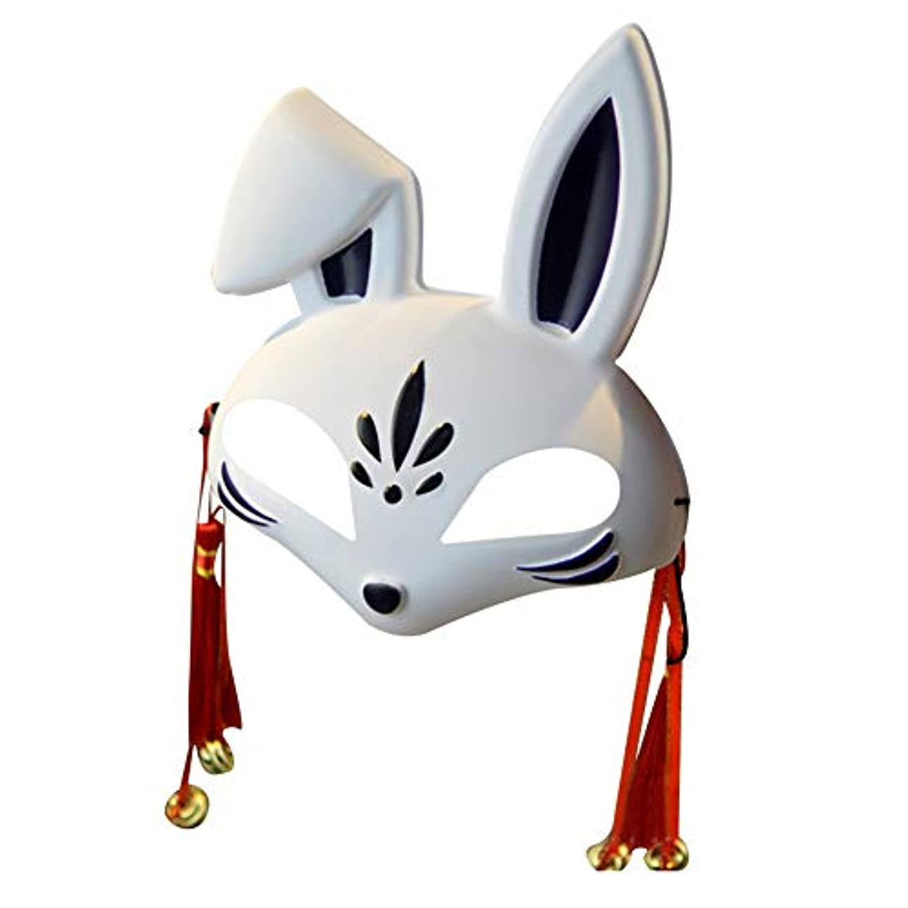 KISSION 手描きのマスク 仮面舞踏会マスク うさぎマスク 半顔 ロールプレイングマスク ハロウィーン仮装衣装 PVCストリートダンスマスク