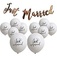 Lumierechat 結婚式 バルーン ガーランド Just Married 風船 ホワイト 白 筆記体 装飾 飾り セット a-b2698