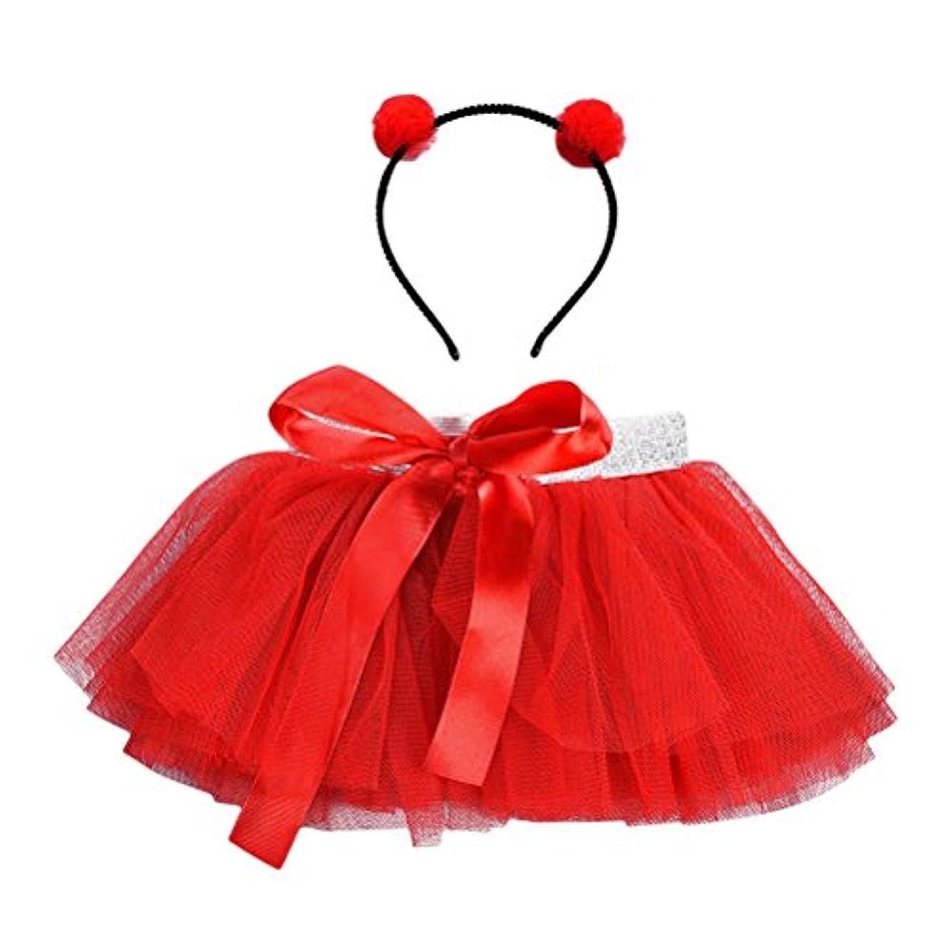 反映するのために追加するLUOEM 女の子TutuスカートセットヘッドバンドプリンセスガールTutuの服装赤ちゃん女の子Birthday Outfit Set(Red)