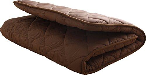 敷布団 3層ボリューム 厚み100mm 日本製 ピーチスキン加工 セミダブル ブラウン