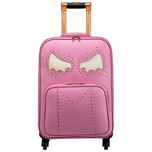 Femoooboro 小さなモンスター柄レザーキャリーケース スーツケース - S