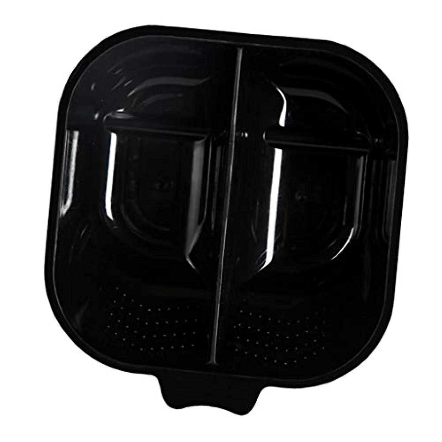 スライス刺す閃光ヘアカップ ヘアカラーボウル ヘアダイカップ 染料 混合ボール 滑り止め サロン 自宅 便利 全3色 - ブラック