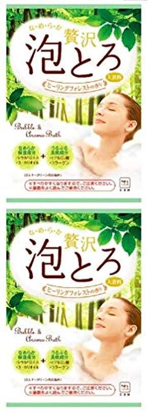 お茶賞ホバー牛乳石鹼 お湯物語 贅沢 泡とろ 入浴料 ヒーリングフォレストの香り 30g ×2セット