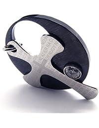 [テメゴ ジュエリー]TEMEGO Jewelry メンズクリスタルステンレススチールヴィンテージペンダントゴシッククロス主の祈りラウンドネックレス、ブラックシルバー[インポート]