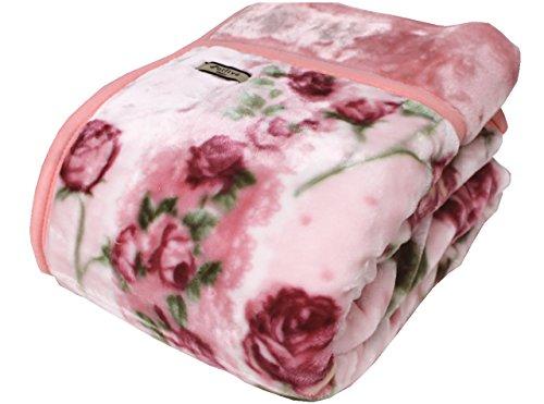 京都西川衿付き2枚合わせふっくら毛布(フローレン)シングルサイズ (ピンク)