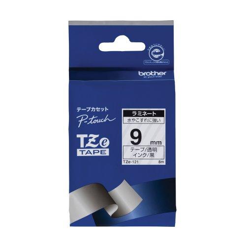 ブラザー工業 TZeテープ ラミネートテープ(透明地/黒字) 9mm TZe-121