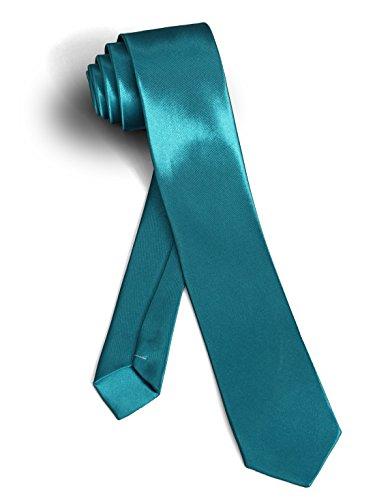 【ダブリューアンドエム】 W&M ナロータイ 30色展開 エメラルド グリーン 青 緑 洗濯 可能 光沢 細 ネクタイ 無地 ソリッド ピーコック ブルー