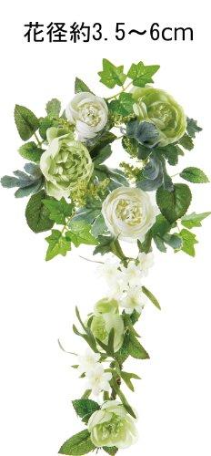 ポピー 造花 ラナンキュラスリース グリーンホワイト FBC-8007 G/W
