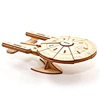 Star Trek The Next Generation: U.S.S. Enterprise Book and 3D Wood Model Kit - Build, Paint and Collect Your Own Wooden Model - Great For Kids and Adults, 12+ - 23cm