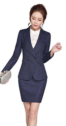 Washable passion prostitute stripe recruit suit Women's Business Suit Set formal job hunting commuter work clothes OL skirt pants suit Slim