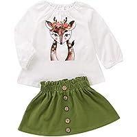 Treafor Toddler Girl Fall Winter Clothes | Deer Printed T-Shirt White Shirt Top Blouse + Button Skirt
