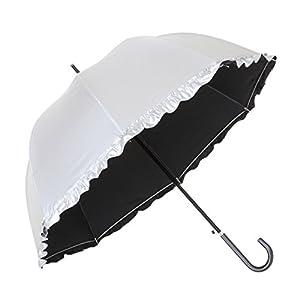 傘と日傘専門店リーベン 日傘 ブラック 55cm×8本骨 UV晴雨兼用ジャンプ傘 フリル シルバー LIEBEN-1415