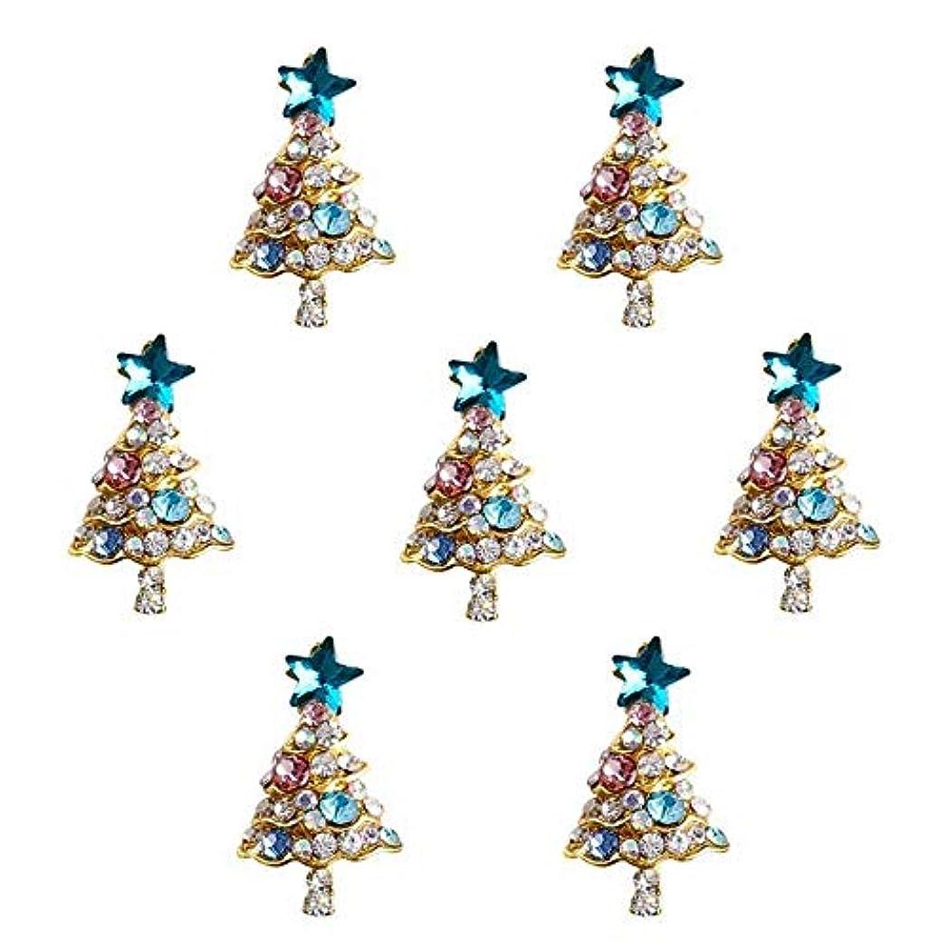 頭超高層ビル電極10個入り/ロット3Dラインストーンの装飾ブルーグリッタースタークリスマスツリーのデザイン接着剤ネイルアートDIYスタッドは、合金用品