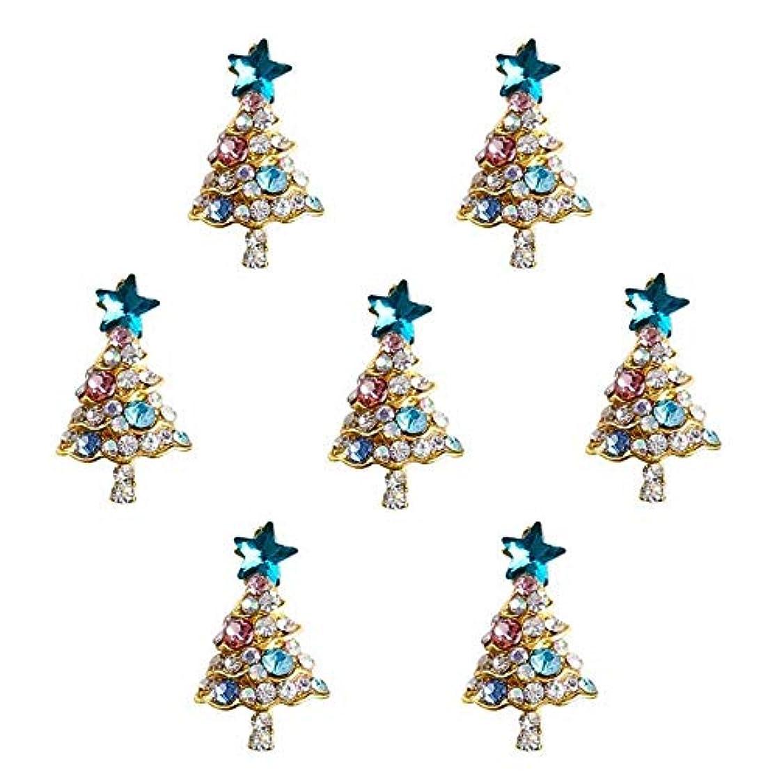 森林降雨取り出す10個入り/ロット3Dラインストーンの装飾ブルーグリッタースタークリスマスツリーのデザイン接着剤ネイルアートDIYスタッドは、合金用品