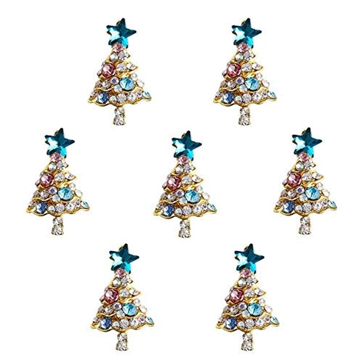 オーラル円形説教する10個入り/ロット3Dラインストーンの装飾ブルーグリッタースタークリスマスツリーのデザイン接着剤ネイルアートDIYスタッドは、合金用品