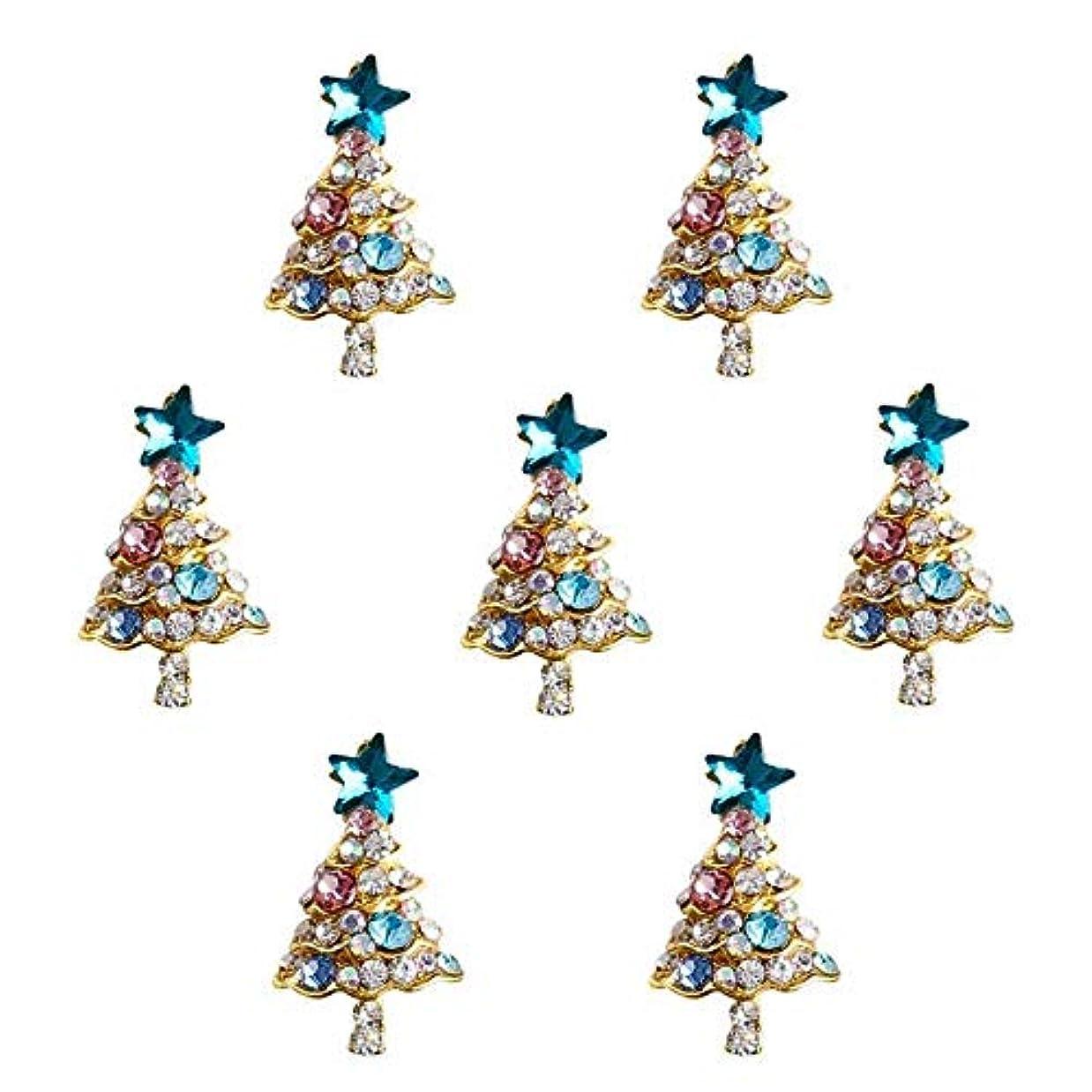 目に見えるモンキーひいきにする10個入り/ロット3Dラインストーンの装飾ブルーグリッタースタークリスマスツリーのデザイン接着剤ネイルアートDIYスタッドは、合金用品