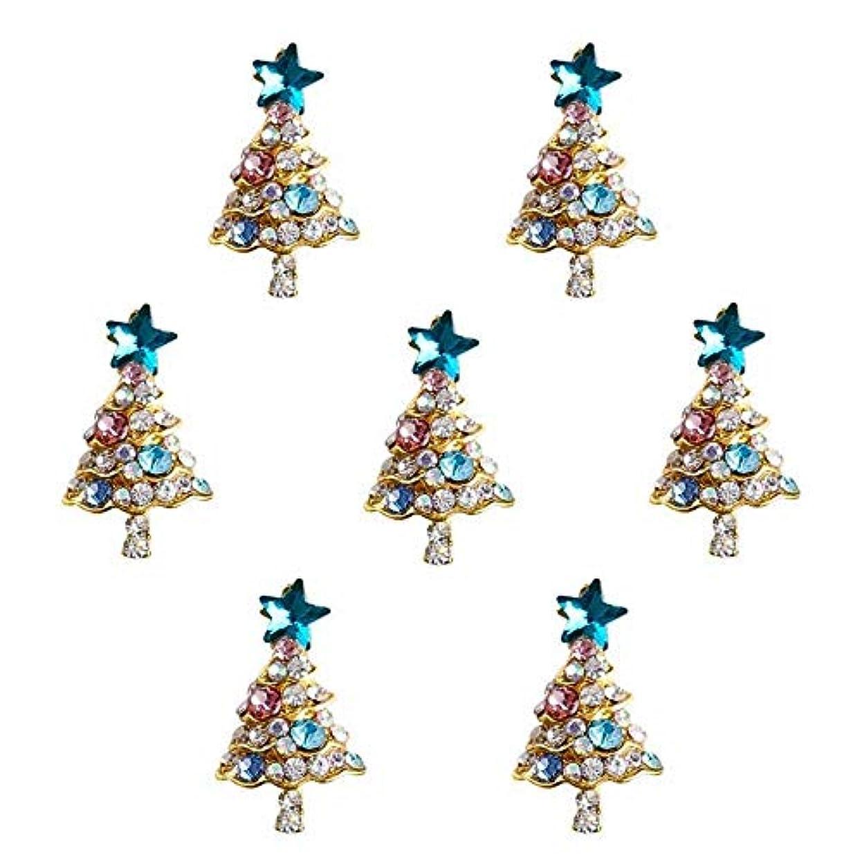 現れるアスリートレポートを書く10個入り/ロット3Dラインストーンの装飾ブルーグリッタースタークリスマスツリーのデザイン接着剤ネイルアートDIYスタッドは、合金用品