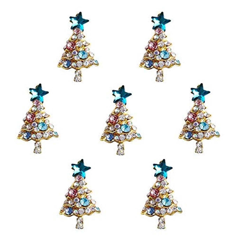 電化する彼女自身する10個入り/ロット3Dラインストーンの装飾ブルーグリッタースタークリスマスツリーのデザイン接着剤ネイルアートDIYスタッドは、合金用品