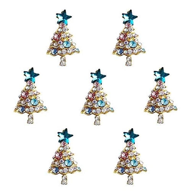 怖い廃棄する安全でない10個入り/ロット3Dラインストーンの装飾ブルーグリッタースタークリスマスツリーのデザイン接着剤ネイルアートDIYスタッドは、合金用品
