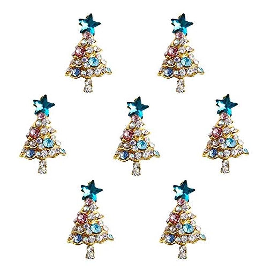 チョップ友だちなんでも10個入り/ロット3Dラインストーンの装飾ブルーグリッタースタークリスマスツリーのデザイン接着剤ネイルアートDIYスタッドは、合金用品