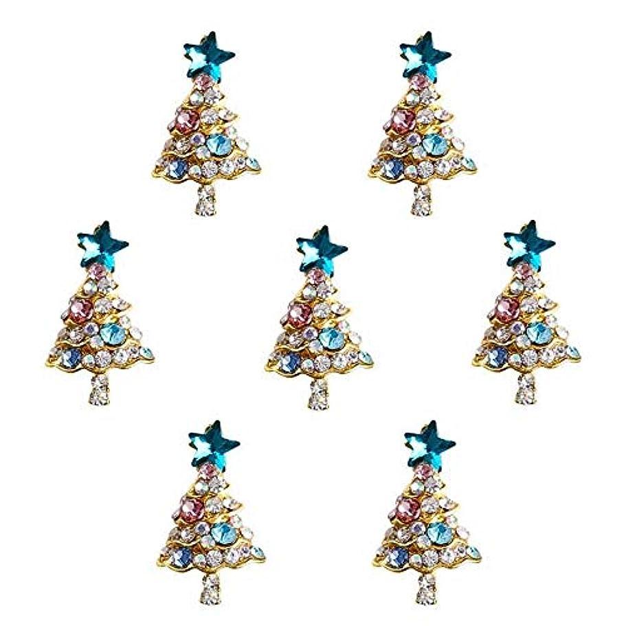 財政コピー列挙する10個入り/ロット3Dラインストーンの装飾ブルーグリッタースタークリスマスツリーのデザイン接着剤ネイルアートDIYスタッドは、合金用品