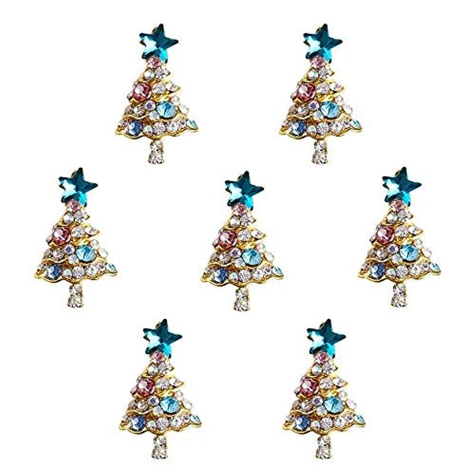 極小うなる音節10個入り/ロット3Dラインストーンの装飾ブルーグリッタースタークリスマスツリーのデザイン接着剤ネイルアートDIYスタッドは、合金用品