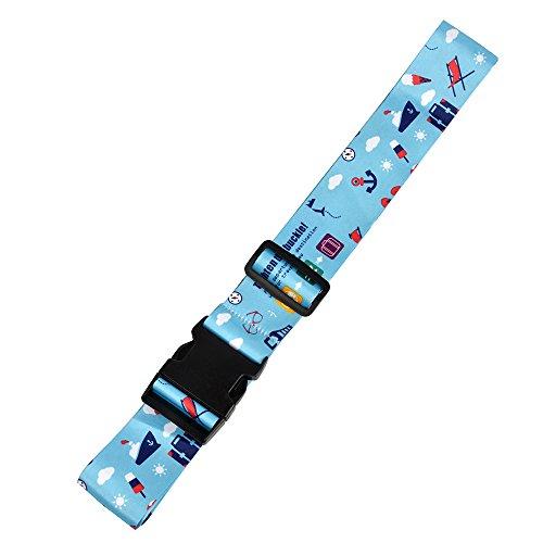 クロース(Kroeus)スーツケースベルト おしゃれ 長さ調整可 トランクベルト ワンタッチ式 一字型ベルト カラフル 旅行 出張 ブルー