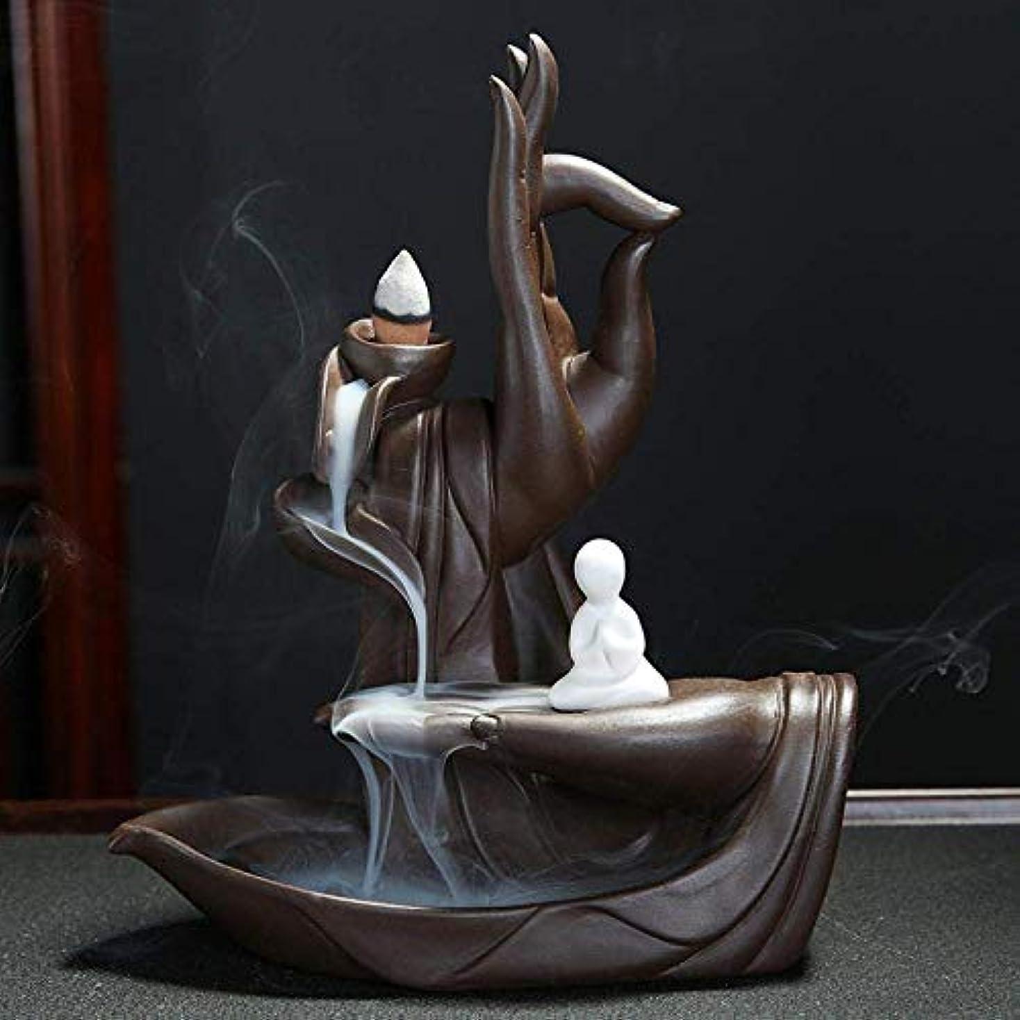 耳分析的フォーク逆流香ホルダー、香バーナーセラミック香スティックホルダーホームデコレーション手芸ギフト,Zen Man