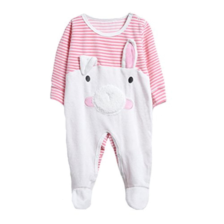 エルフ ベビー(Fairy Baby)足つきロンパース ベビー服 つなぎ カバーオール 長袖 豚柄 ピンク size90