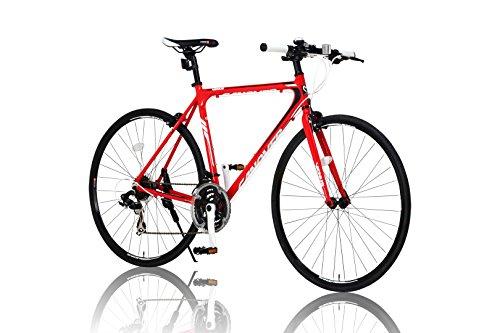 CANOVER(カノーバー) クロスバイク 700C シマノ21段変速 CAC-021 (VENUS) 特殊加工 アルミフレーム フロントLEDライト付 レッド