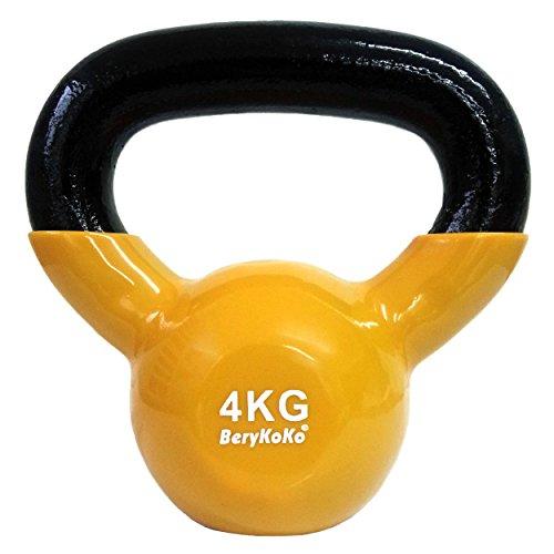 BeryKoKoケトルベル(色:イエロー 4kg) コーティング エクササイズ 正規品/18ヶ月保証 4kg/6kg/8kg/10kg/12kg/16kg/20kg/24kg 体幹トレーニング 筋トレ 筋力トレーニング シェイプアップ ([h] 4kg(イエロー))