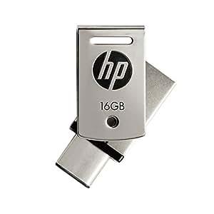 HP 16GB USB3.1対応 Type-C + A デュアルUSBメモリ 金属製の360度回転デザイン2in1 OTG シルバー フラッシュドライブ x5000m HPFD5000M-16