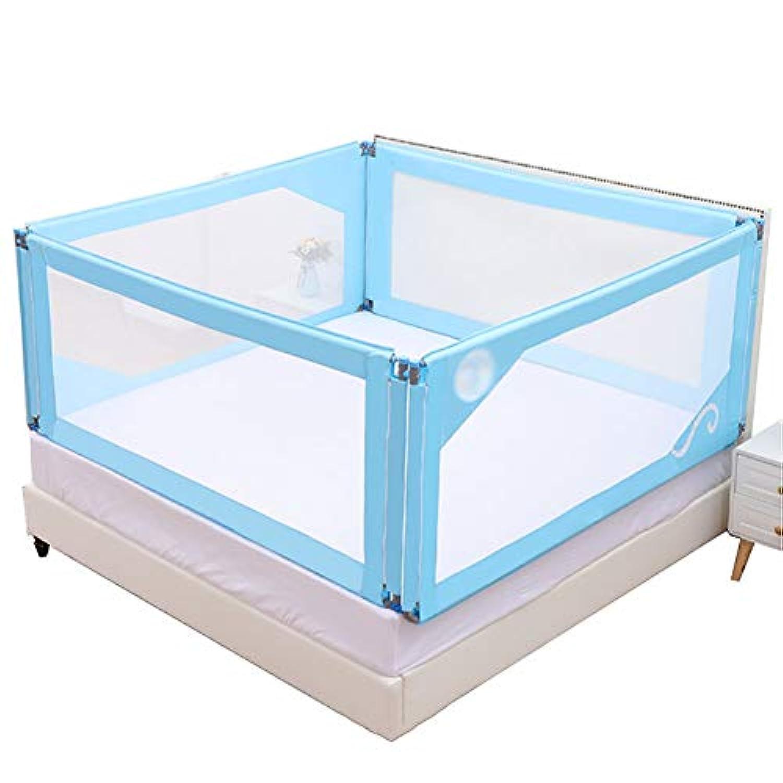 ベビープレイペン 赤ちゃんの安全なベッドのレールの子供の垂直リフトベッドのガードレール、赤ちゃん耐破損エッジバッフル、青(3スライス) (サイズ さいず : 180×200cm)