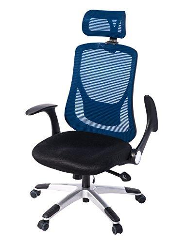 (OSJ)オフィスチェア パソコンチェア 145度 ロッキング固定機能 腰サポートクッション (ネイビー)可動肘 静音PUキャスター