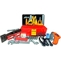 Deluxe Toy Tool Set For Toddlers TG668 - Fun Tool Box Kit For Kids With 40 Pieces Including Battery Powered Drill By ThinkGizmos