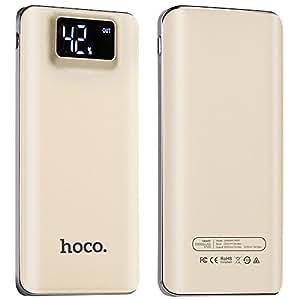 モバイルバッテリー 大容量 軽量 10000mAh 急速 充電 薄型 全5色 モバイルバッテリー iPhone / iPad / Xperia / Android / 各機種対応 2ポート LEDライト付 スマホ 充電器 ポータブル バッテリー (ゴールド)