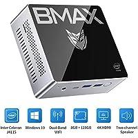 BMAX ミニPC、Intel Celeron J4115 (最大2.5 GHz)プロセッサ Windows10 搭載 小型PC 8GBメモリー+128GB 、2チャンネルスピーカー、Bluetooth 5.0、2.4G / 5.8G WiFi対応無線LANディスクトップパソコン